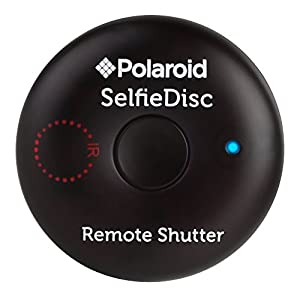 Polaroid SelfieDisc Enhanced IR Remote Shutter Release for SLR Cameras & Bluetooth Enabled Digital Cameras Compatible w/iOS, Android, Canon, Nikon, Sony, Pentax - Includes FREE Mobile App
