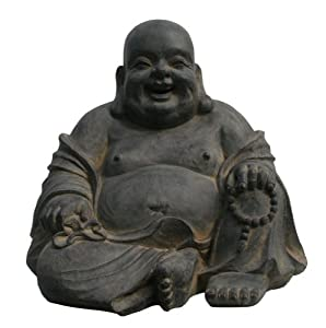 STONE-LITE BOZ 838L Laughing Buddha Figure in Sitting Position - Grey ...