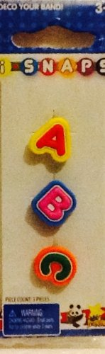 i SNAPS Button Charms! 3 Replacements, or Additions for i SNAPS Rubber Bracelet Band! Letters A, B, C!!