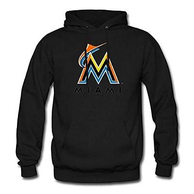 Mens MLB Miami Marlins Team logo Super Athletic Pullover Hoodie Sweatshirt Black