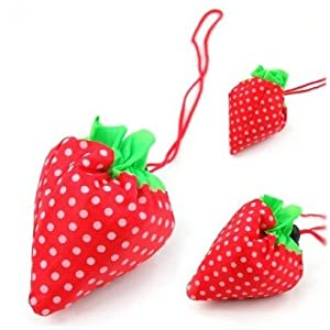 SODIAL(TM) Strawberry Folding Fold up Reusable Compact Eco periodic duty Recycling use Shopping Bag