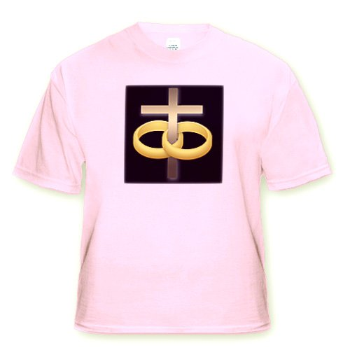 777Images Designs Christian - Marriage Or Anniversary Cross With Two Gold Wedding Rings Around A Gold Cross On A Black Background - T-Shirts - Adult Light-Pink-T-Shirt 2Xl