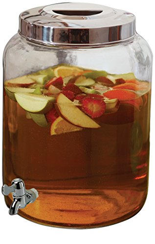 Circleware Clear Mason Jar Glass Beverage Drink Water Dispenser, Chrome Spout, Metal Lid, 2.76 Gallon Capacity, Limited Edition Glassware Drinkware (Drink Cooler Gallon compare prices)
