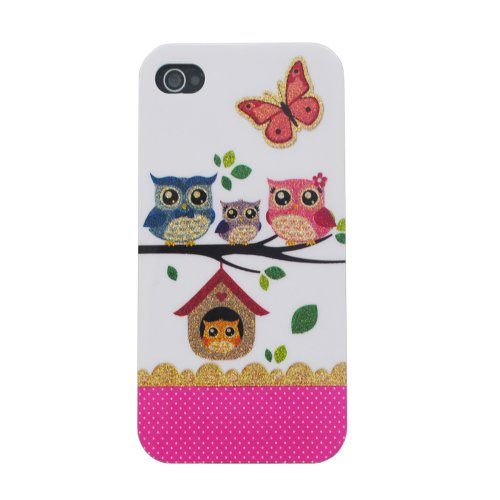 Meaci Apple Iphone 5 5S Case Soft Smooth Tpu Material With Classic& Unique Owl Glitter Shimmering Bling Powder Pattern (Owl-Vii)