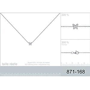 Collier en Argent 925/000 et Oxyde de Zirconium - Chaîne avec Pendentif : Papillon en Strass, Brillants Blanc - Bijoux Femme