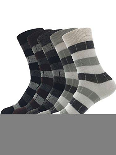 Zando da uomo in cotone pettinato Classic Patterned FLAT Casual Knit Crew calze 5 Pairs Taglia Unica: 20 cm- 27 cm(Misura scarpa: 40-44)