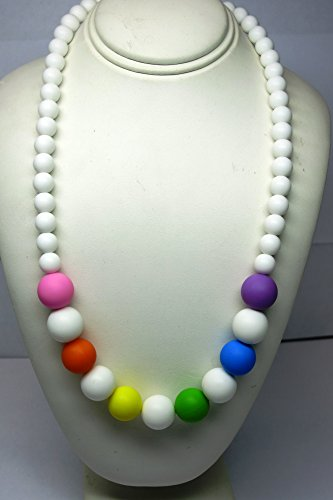 Chewable Teething Necklace for Teething Babies or Nursing Moms. White 9mm Beads on Top and 14mm Colorful Beads in Center Alternating with White Beads. Soft Silicone Food Safe Beads. BPA Free Non Toxic.