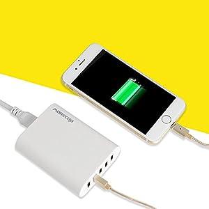 MORECOO USB急速充電器 PowerPort +5 50W ACアダプター 縦置きスタンド付き