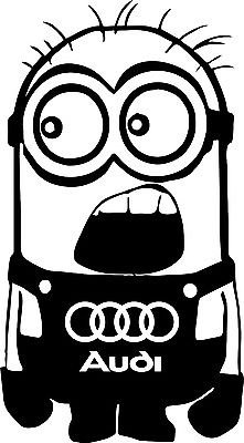 Audi Minion Decal Sticker Car Decal Laptop Decal - Choice Of Colors front-206909