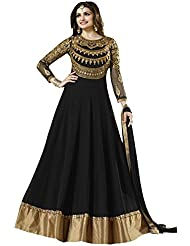 Maxthon FashionWomen's Black Georgette Embroidery Anarkali Unstitched Free Size XXL Salwar Suit Dress Material...