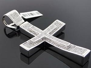 Designer Hip Hop Men's Cross Charm Pendant 14k White Gold 4.50ct Diamond CT-428W
