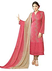 Rozdeal Designer Pink & Beige Chiffon Dress Material