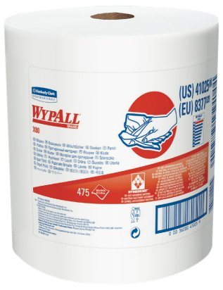 """Wypall 41025 X80 Shop Wipers on Jumbo Roll,  12.5"""" Length x 13.4"""" Width, White (Roll of 475)"""