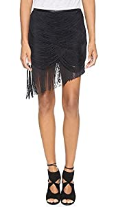 Haute Hippie Women's Trapped Fringe Skirt, Black, 6
