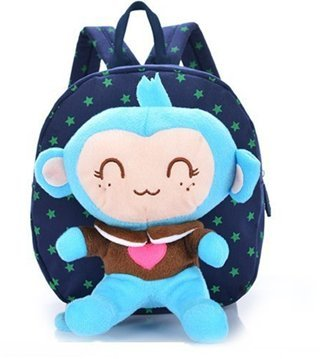Baby Rae Toddler Kid Walking Safety Leash Backpack with Detachable Cute Monkey Stuff Animal (Blue Monkey)