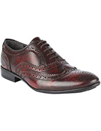 Salt N Pepper Koop Wine 100% Genuine Leather Men Lace Up Shoes