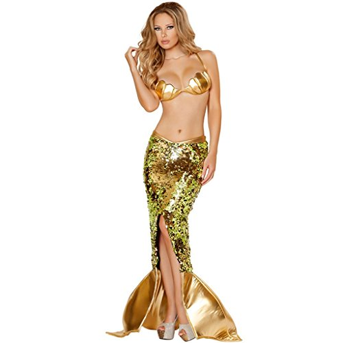 [Afoxsos Women's Golden Mermaid Cosplay Costume S] (Sea Siren Sexy Costumes)