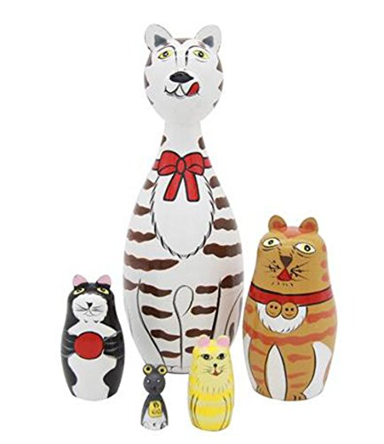 Set Of 5 Cute Lovely Cat Family Nesting Dolls Matryoshka Madness Russian Doll Popular Handmade Kids Girl Gifts Toy