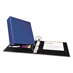 12 Avery Economy Round Ring Reference 3-Ring Binders, 3 Capacity, Blue, EA - AVE03601