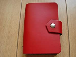 Leather Credit Card/Business Card Holder with Snap Red