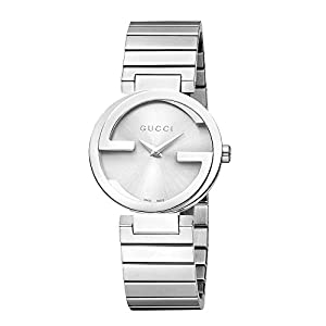 Gucci Interlocking G Collection Women's Quartz Watch with Silver Dial Analogue Display and Stainless Steel Bracelet YA133503