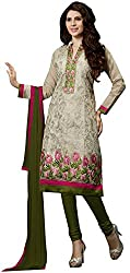 Blissta Ghostwhite Embroidered Chanderi Salwar Suit Dress Material