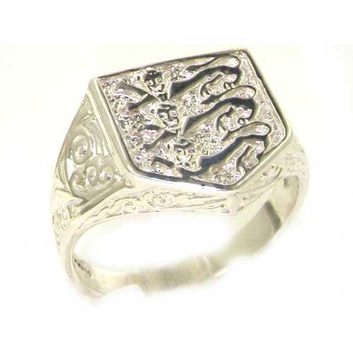 英国製 925 シルバー イングランドの象徴 スリー ライオン エンブレム リング、メンズ シグネット リング 指輪 サイズ 15 各種サイズあり