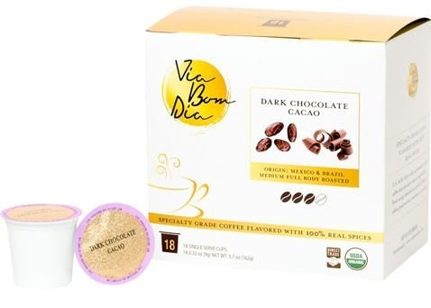 100% Naturally Flavored Certified Organic Coffee, Smooth Dark Chocolate,18-PK K-Cup Pods for Single-Serve Keurig Machines, Specialty gourmet coffee + cacao nibs (Kuerig Light Roast Coffee compare prices)