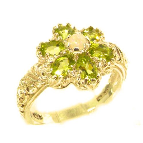 Solid 14K Yellow Gold Fiery Opal & Peridot Womans Art Nouveau Flower Ring - Size 9.25 - Finger Sizes 5 to 12 Available - Perfect Gift for Birthday, Christmas, Valentines Day, Mothers Day, Mom, Mother, Grandmother, Daughter, Graduation, Bridesmaid.