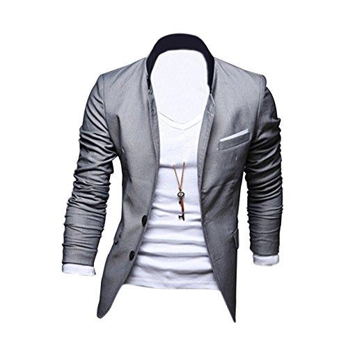 SODIAL (R) Nuovo uomo alla moda abito completo giacca casual slim fit Due bottoni grigio CN M=US/UK XS