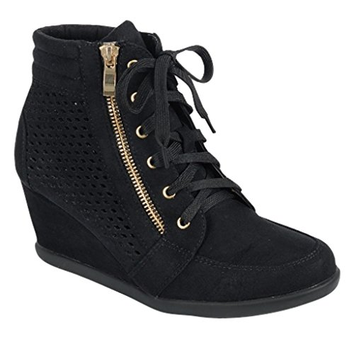 Women High Top Wedge Heel Sneakers Platform Lace Up Shoes Ankle Bootie, Size 8.5, Black Laser-cut