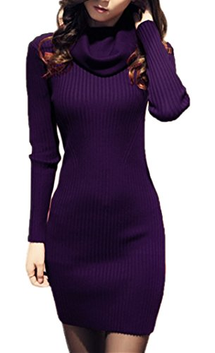 V28? Women Cowl Neck Knit Stretchable Elasticity Long Sleeve Slim Fit Sweater Dress XS/S US 2-8 Purple
