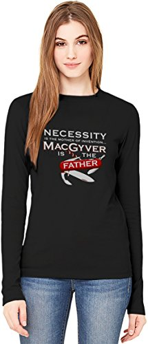 Macgyver Is The Father Of Invention T-Shirt da Donna a Maniche Lunghe Long-Sleeve T-shirt For Women| 100% Premium Cotton| DTG Printing| XX-Large