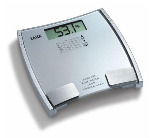 Laica PL8032 Bilancia Pesapersona Digitale 150 kg/100 g, Misura Grasso, Acqua, Muscoli