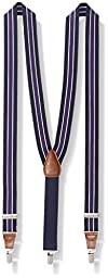 Wembley Men\'s 32 mm Center Stripe Stretch Suspender, Navy, One Size