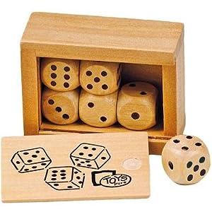 Boite de 6 dès à jouer en bois 1,60 cm coffret en bois couvercle coulissant.