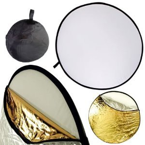 "43"" 110CM Round Multi Disc Light Reflector! Portable, 5 in 1: Translucent, Silver, Gold, White, and Black! Collapsible! Perfect for Studio or any Photography Situation!"