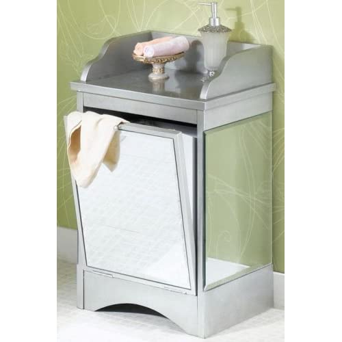 Mirrored tilt out hamper single antique silver laundry hampers - Tilt laundry hamper ...