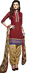 Leranath Fashion House Womens Pure Chanderi Material Brown, Cream Dress (LE6-272SUN-2)