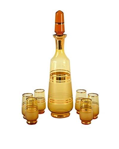 Patina Vie Vintage Set of 7 Cocktail Decanter & Shot Glasses, Amber/Gold