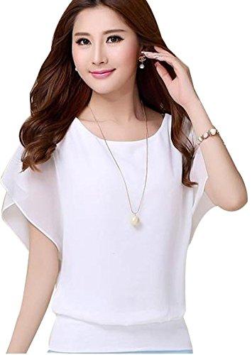 VIISHOW Women's Loose Casual Short Sleeve Chiffon Top T-shirt Blouse