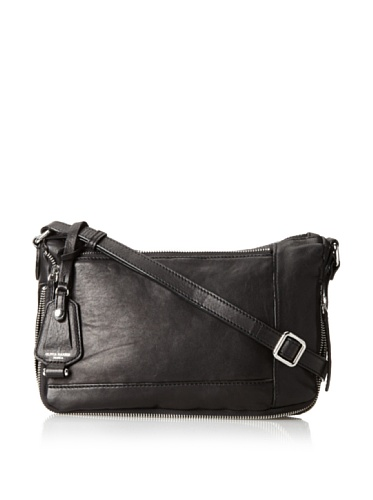 Olivia Harris Women's Unzipped Round Cross-Body, Black