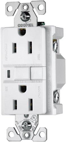 Cooper Wiring Devices Vgf15W 15-Amp 2-Pole 3-Wire 125-Volt Duplex Ground Fault Circuit Interrupter, White