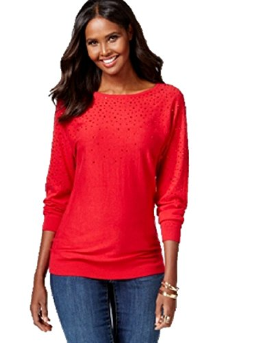 Inc International Concepts Embellished Sweater Medium Red (Inc Womens Sweaters compare prices)