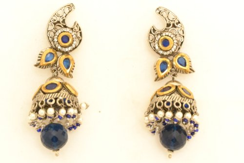 Fashion Balika Fashion Jewelry Gold-Plated Jhumki Earring For Women Blue-BFJER040 (Yellow)
