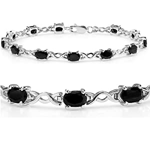 7ct tgw Sapphire Infinity Tennis Bracelet set in Sterling Silver ( 7 1/2 inches) by Amanda Rose Collection
