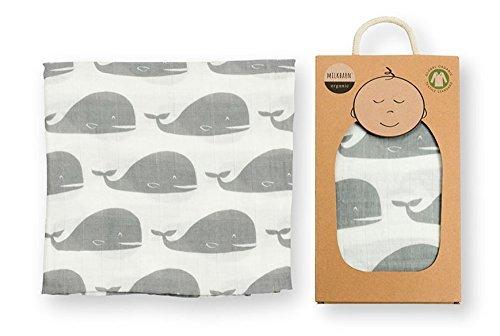 Milkbarn Organic Muslin Swaddle Blanket (Whale)