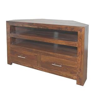 Buying Guide of  Cuba Sheesham Corner TV Cabinet