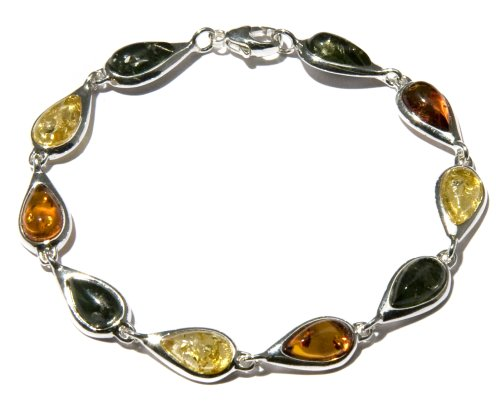 Sterling Silver Multi-Color Amber Teardrop Link Bracelet