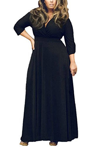 Women's Solid V-Neck 3/4 Sleeve Plus Size Evening Party Maxi Dress XL Black